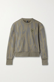 adidas by Stella McCartney Animal-print cotton-blend jersey sweatshirt