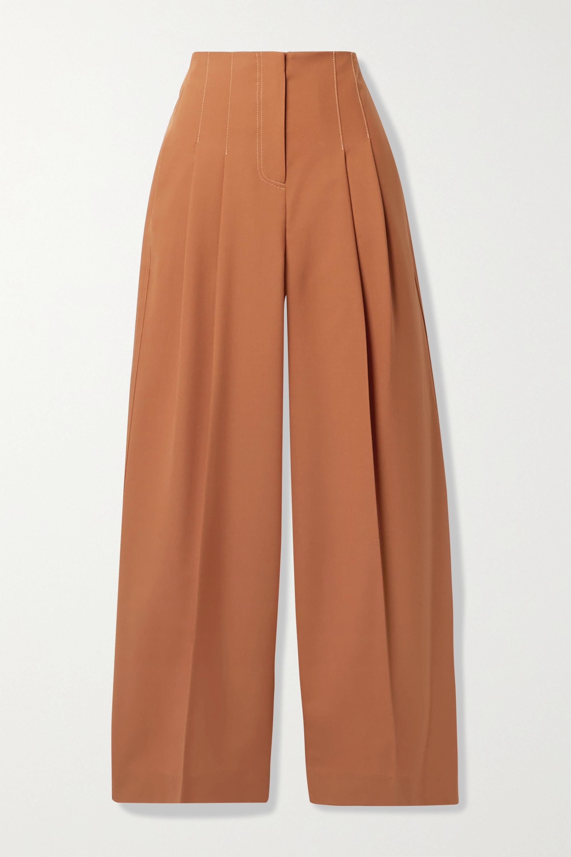 LVIR Pleated wool-blend wide-leg pants