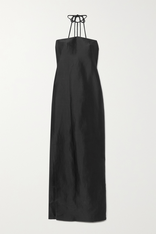 REJINA PYO Lou open-back ramie-blend satin-twill halterneck maxi dress