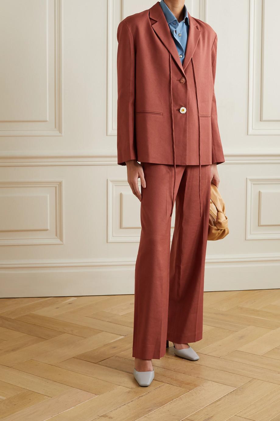 REJINA PYO Ashley tie-detailed linen-blend twill blazer