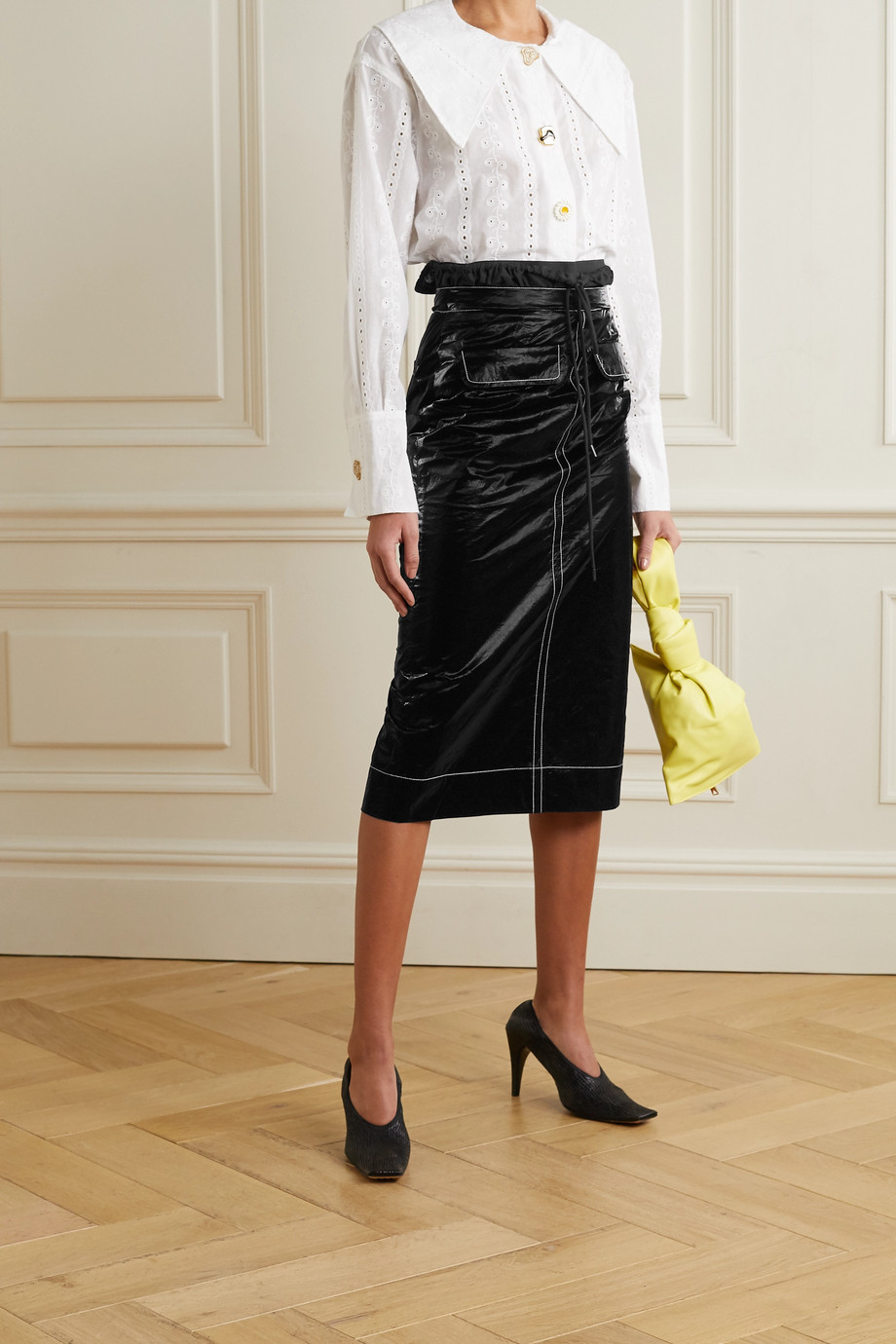 REJINA PYO Taylor topstitched crinkled coated-shell midi skirt