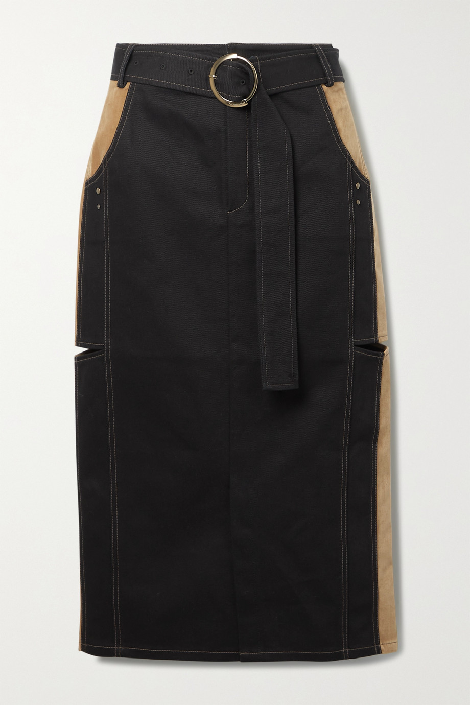 Andersson Bell Nadia paneled cutout denim and velvet midi skirt