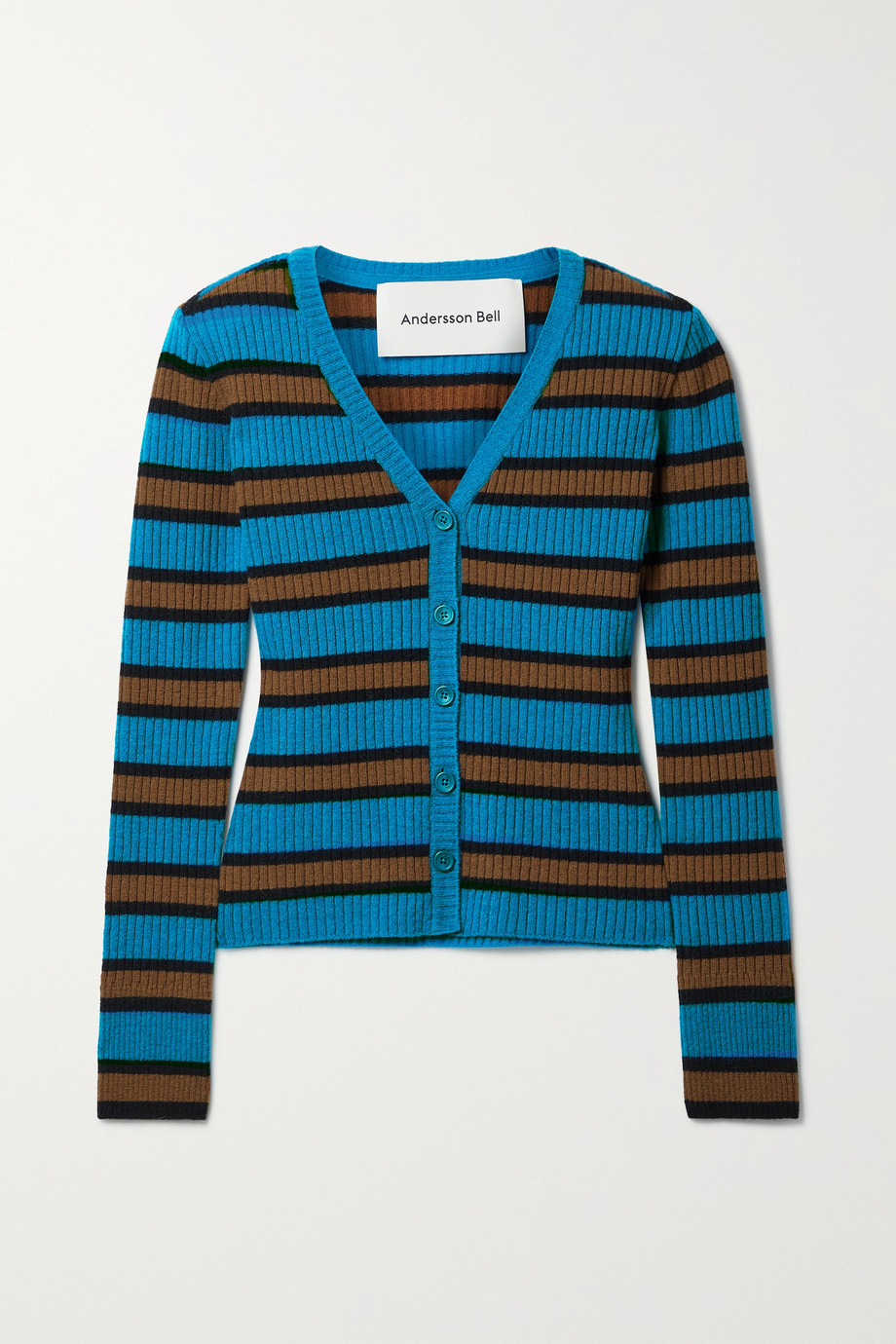Andersson Bell Ribbed striped wool-blend cardigan