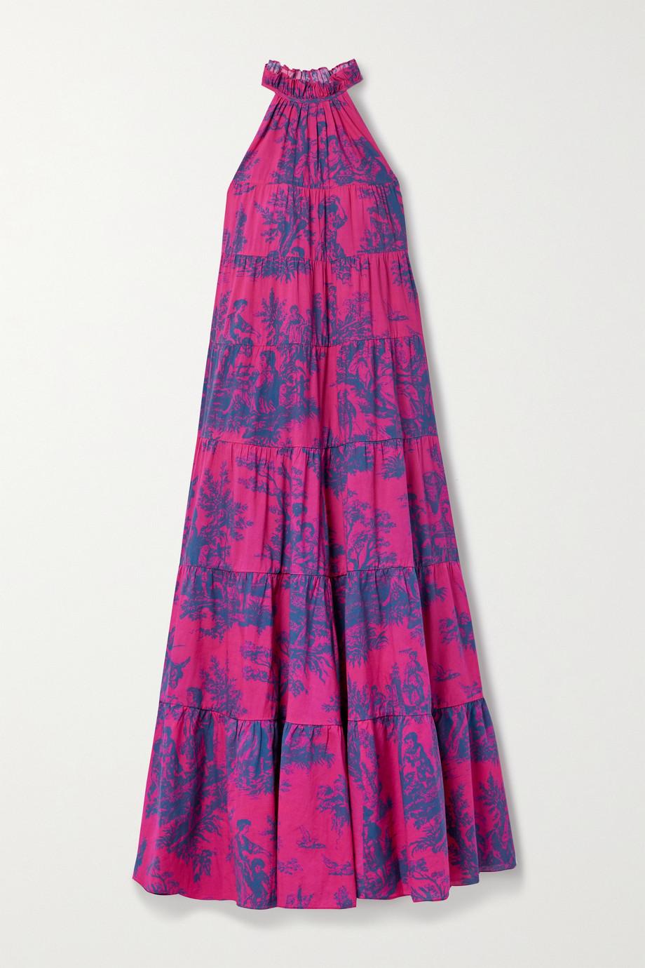 Rhode Julia tiered printed cotton-voile halterneck dress