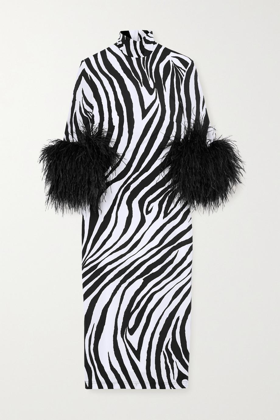 Halpern Feather-trimmed zebra-print stretch-satin dress