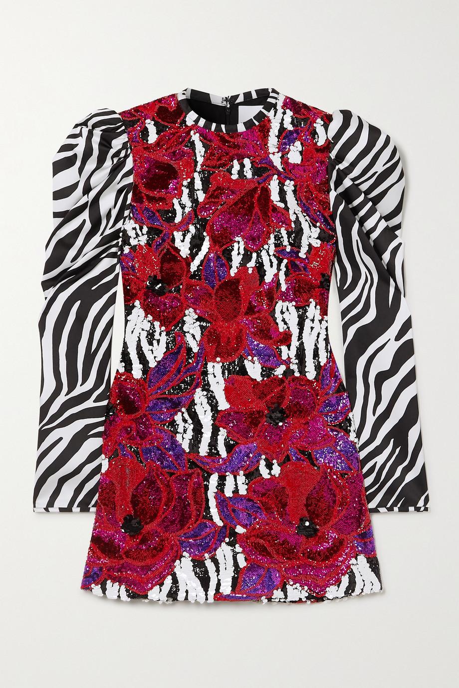 Halpern Sequin-embellished zebra-print satin mini dress