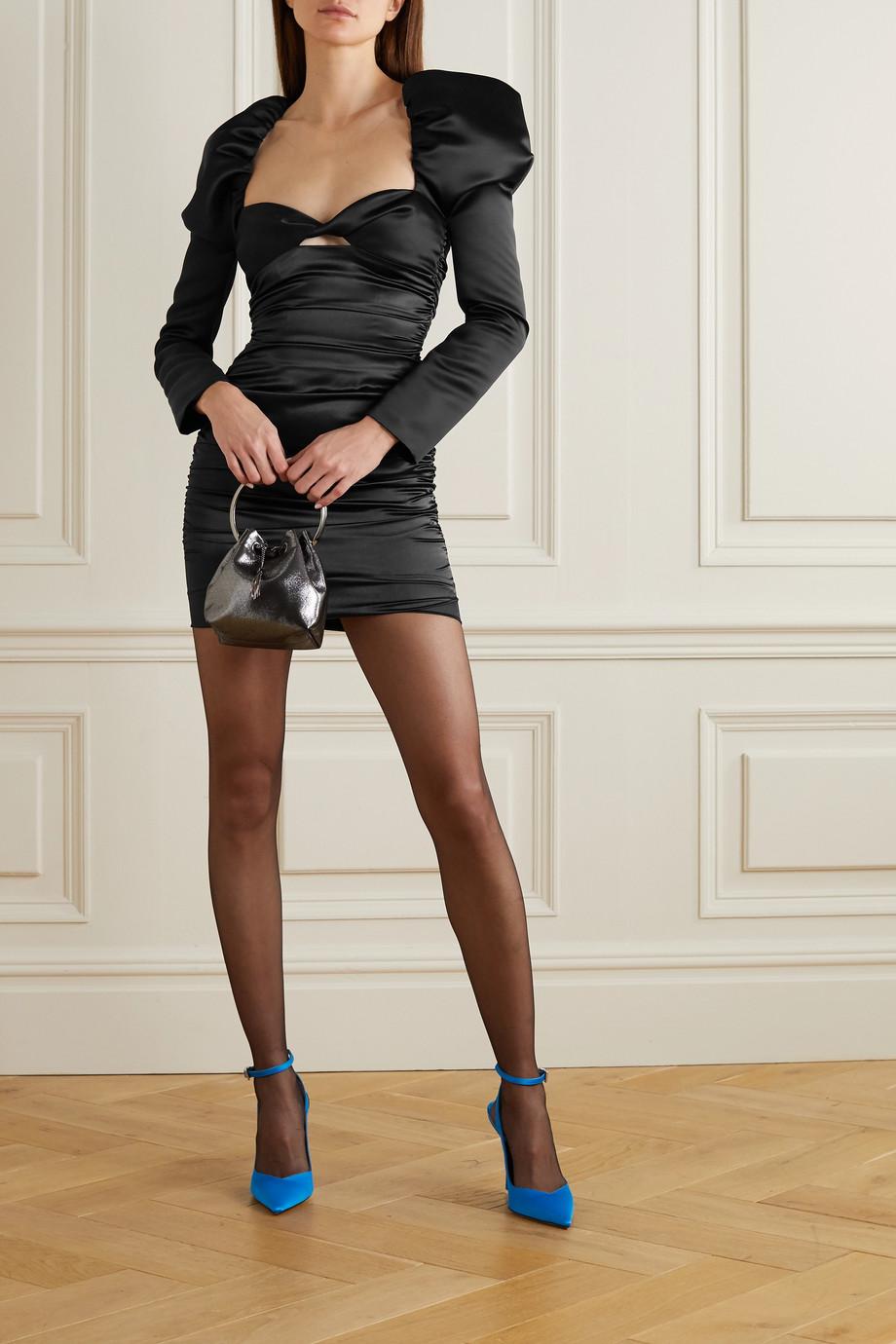 Halpern Cutout ruched satin mini dress
