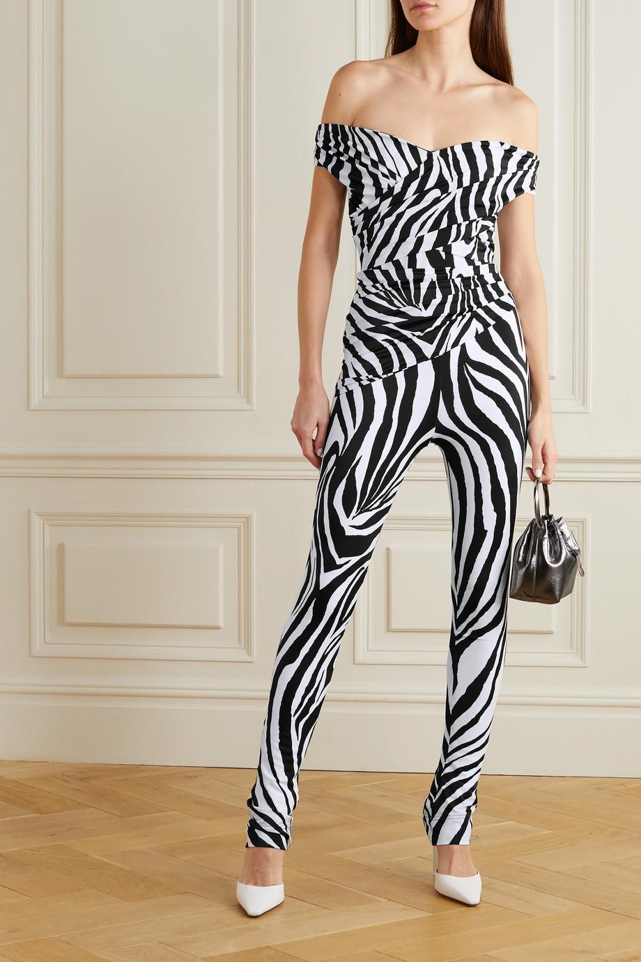 Halpern Off-the-shoulder zebra-print satin jumpsuit