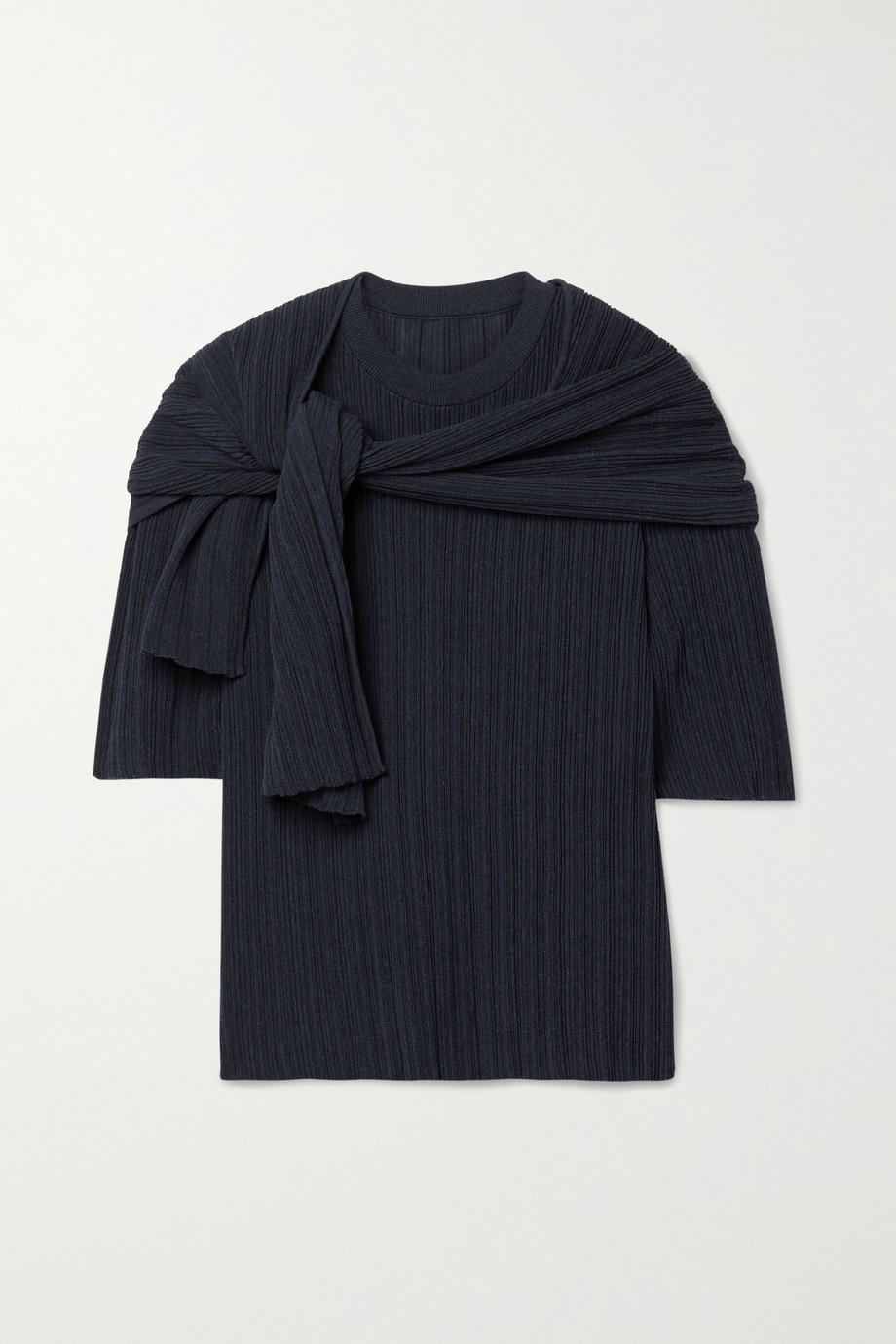 LE 17 SEPTEMBRE Set aus Oberteil und Schal aus einer gerippten Baumwollmischung