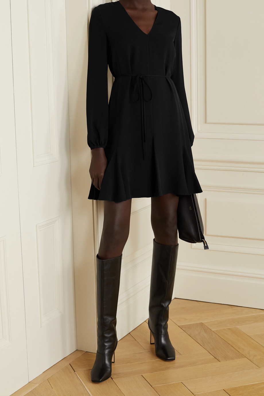 Theory Belted silk-crepe mini dress