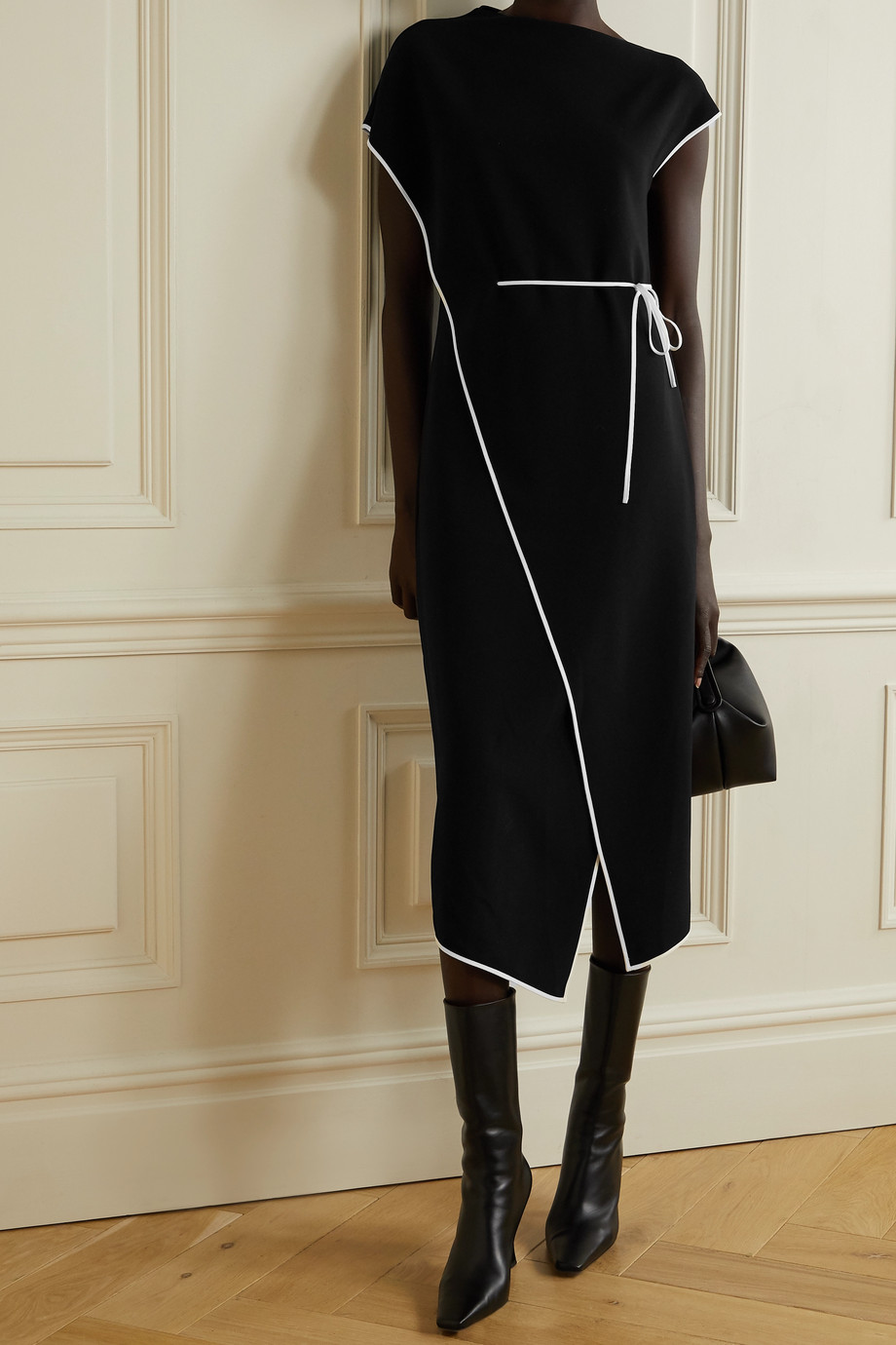Theory Admiral silk-trimmed crepe wrap dress