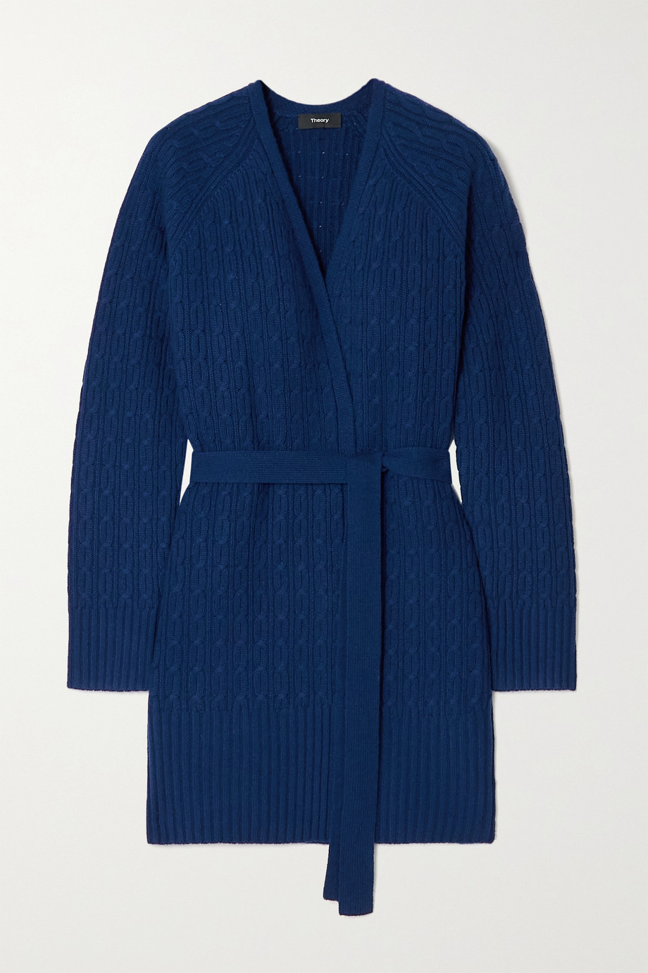 Theory Malinka belted cable-knit cashmere cardigan