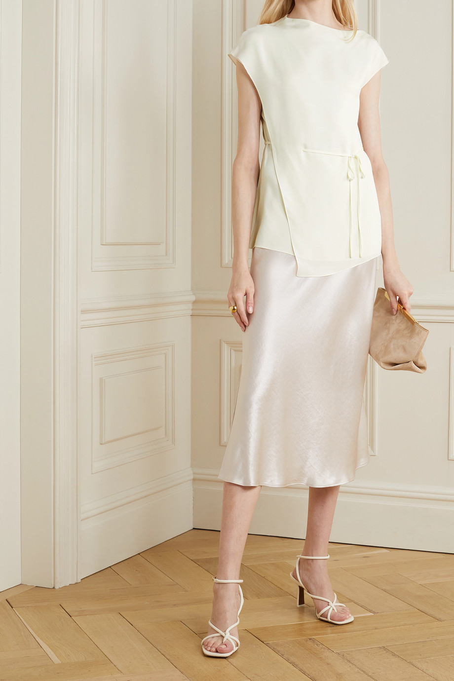 Theory Layered silk-crepe top