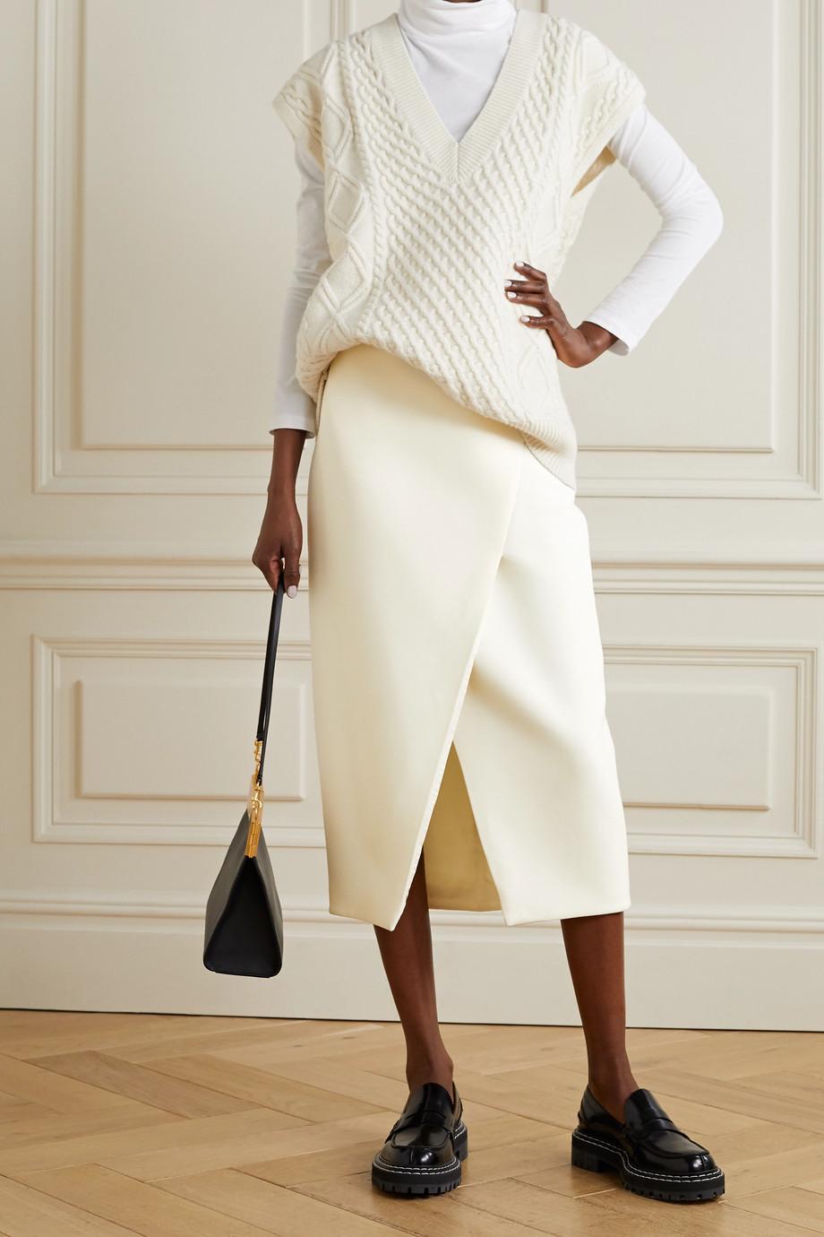 Theory Wrap-effect woven midi skirt