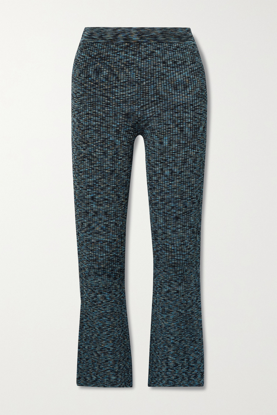 Theory Cropped space-dyed ribbed-knit flared pants