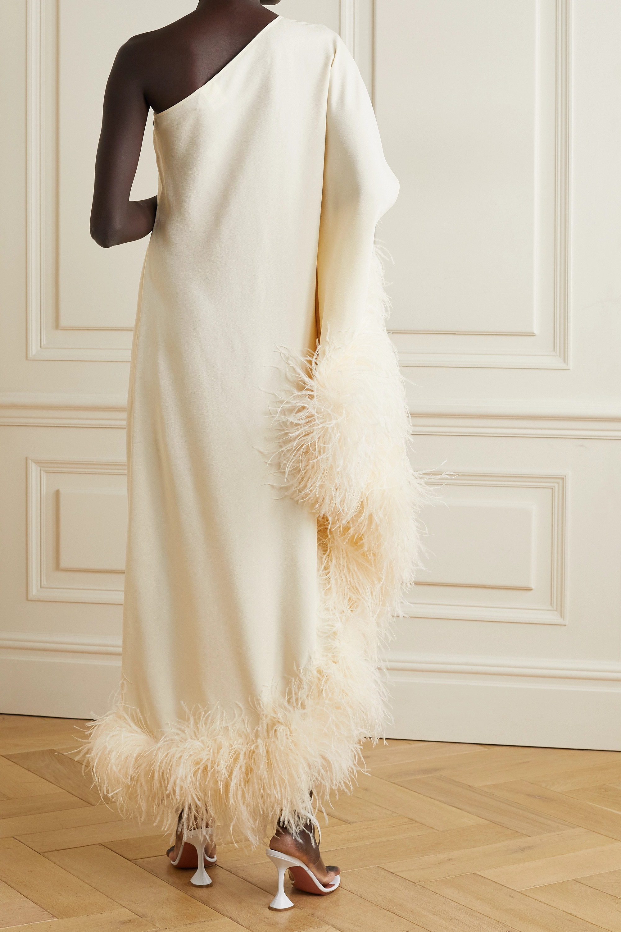 Taller Marmo Ubud one-shoulder feather-trimmed crepe maxi dress