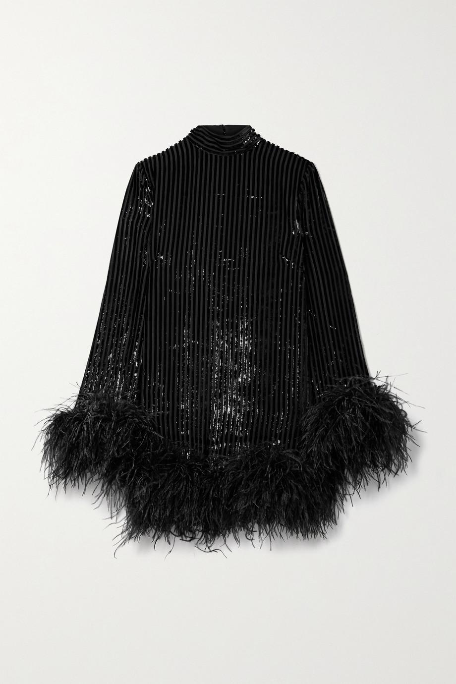 Taller Marmo Gina feather-trimmed metallic devoré-chiffon mini dress
