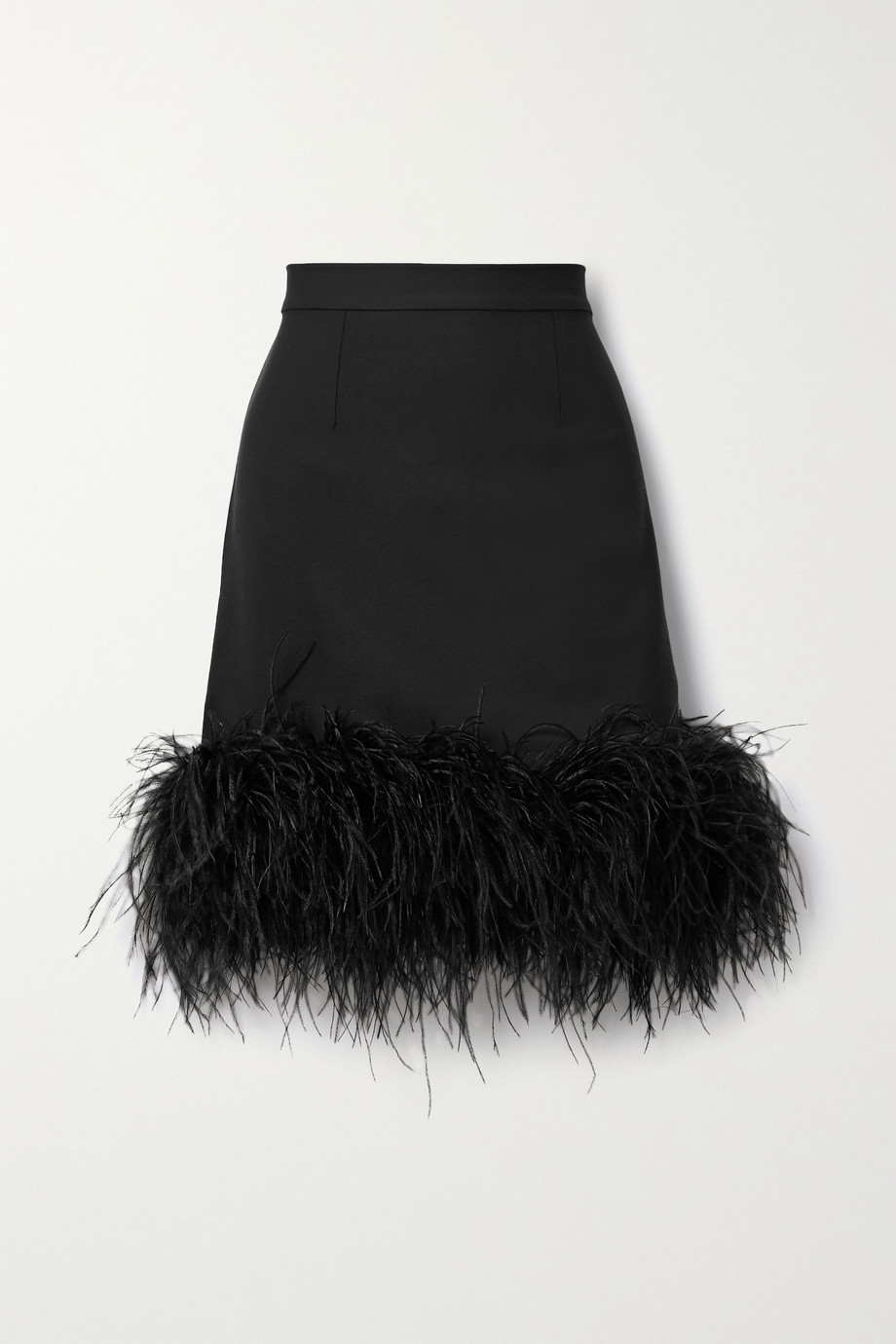 Taller Marmo Virna feather-trimmed wool-blend mini skirt