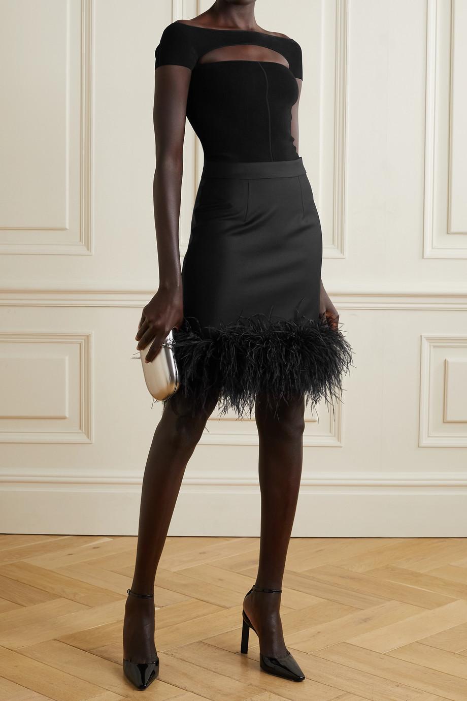 Taller Marmo Virna Minirock aus einer Wollmischung mit Federn