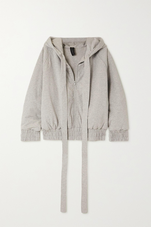 Norma Kamali Padded mélange stretch cotton-jersey hoodie