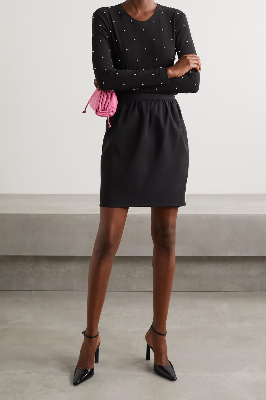 Norma Kamali Faux pearl-embellished stretch-jersey bodysuit