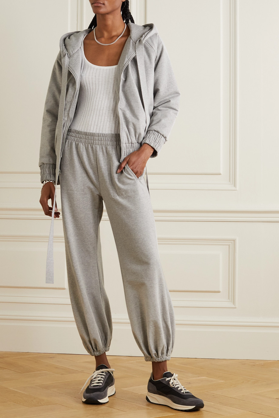 Norma Kamali Boyfriend mélange stretch cotton-jersey track pants