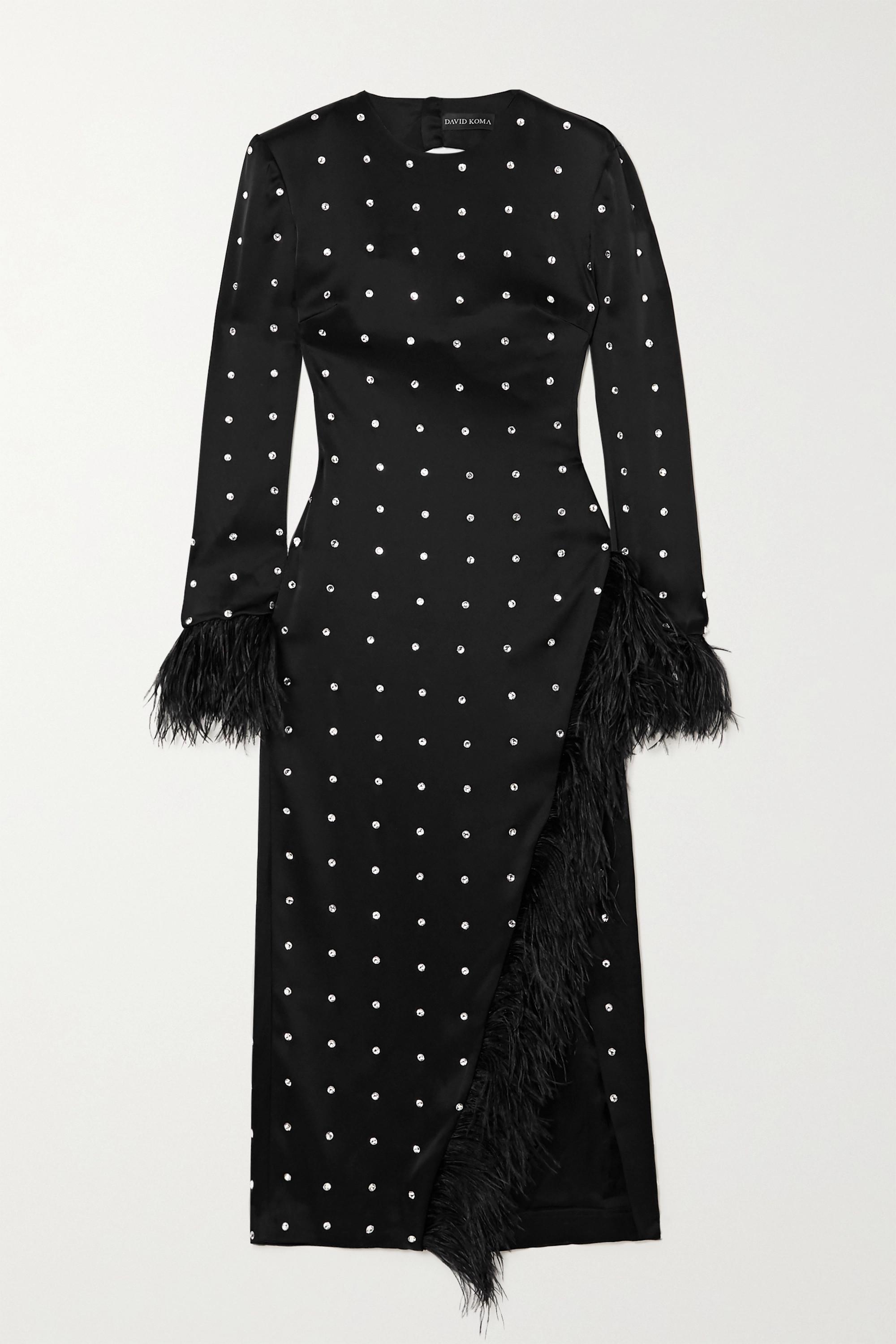 David Koma Open-back feather-trimmed crystal-embellished satin midi dress