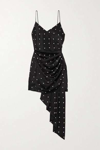 David Koma Draped Crystal-embellished Satin Mini Dress In Black