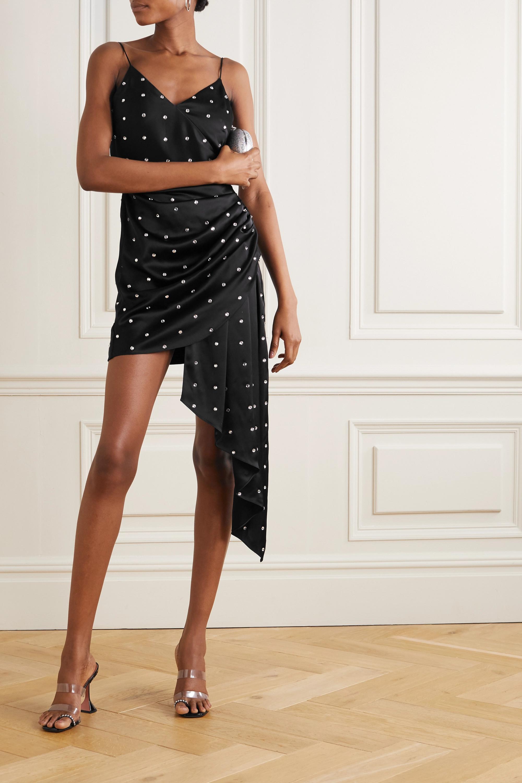 David Koma Draped crystal-embellished satin mini dress