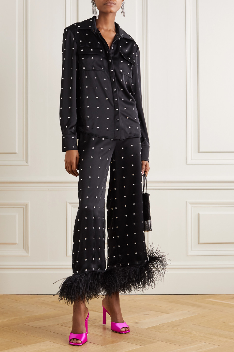 David Koma Cropped feather-trimmed  crystal-embellished satin wide-leg pants