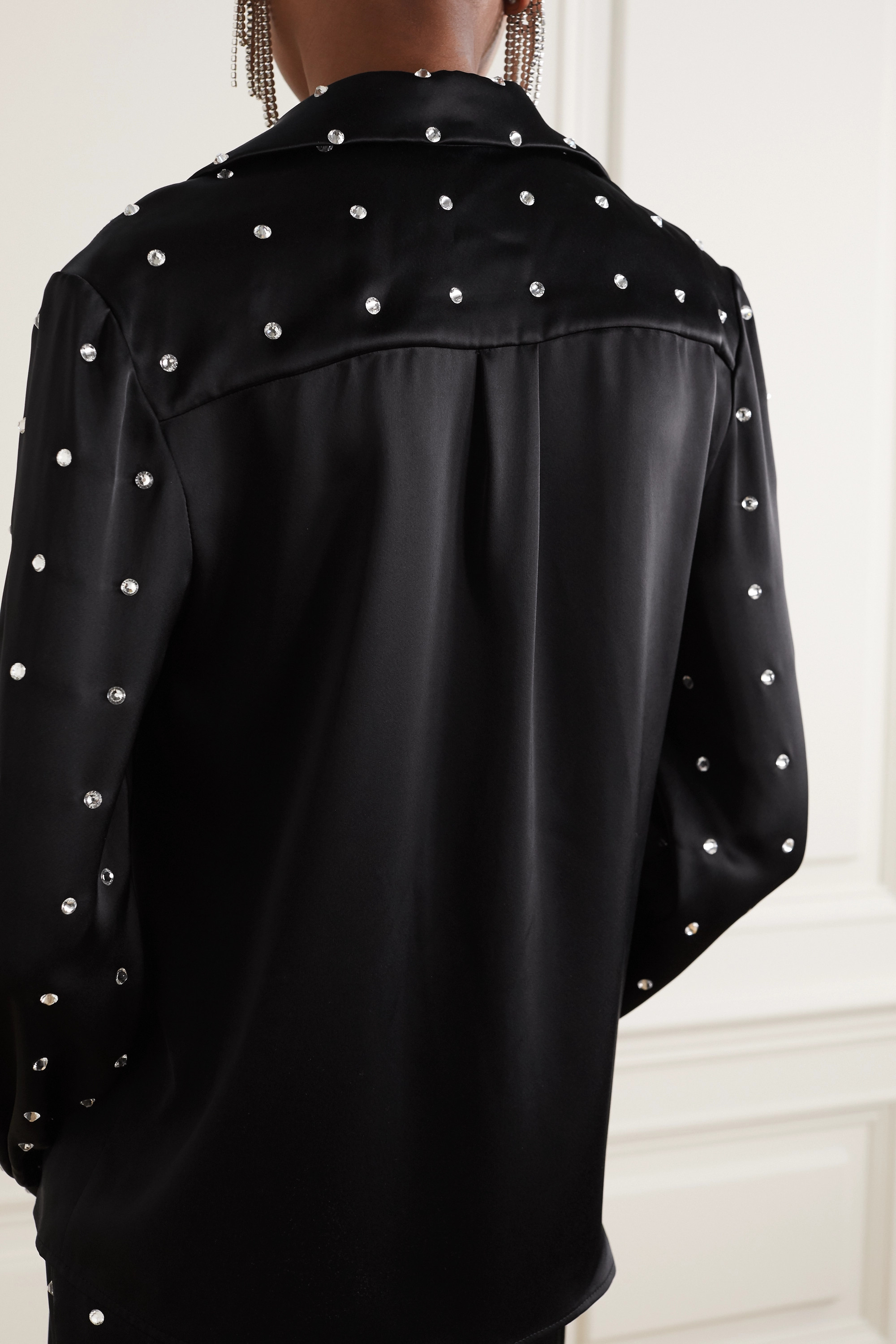 David Koma Crystal-embellished satin blouse