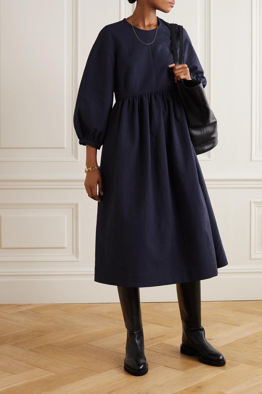 &Daughter + NET SUSTAIN Rosalie gathered cotton-jacquard midi dress