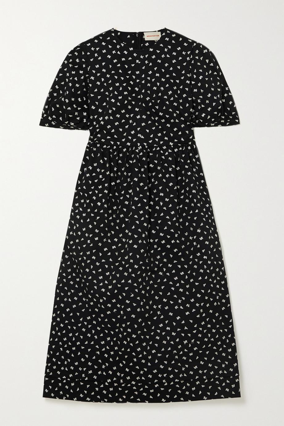&Daughter + NET SUSTAIN Dawn embroidered cotton-gabardine midi dress