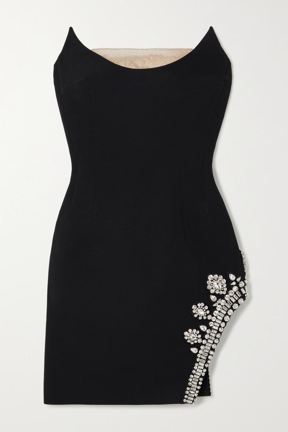 David Koma Strapless sequined tulle-trimmed crystal-embellished cady mini dress