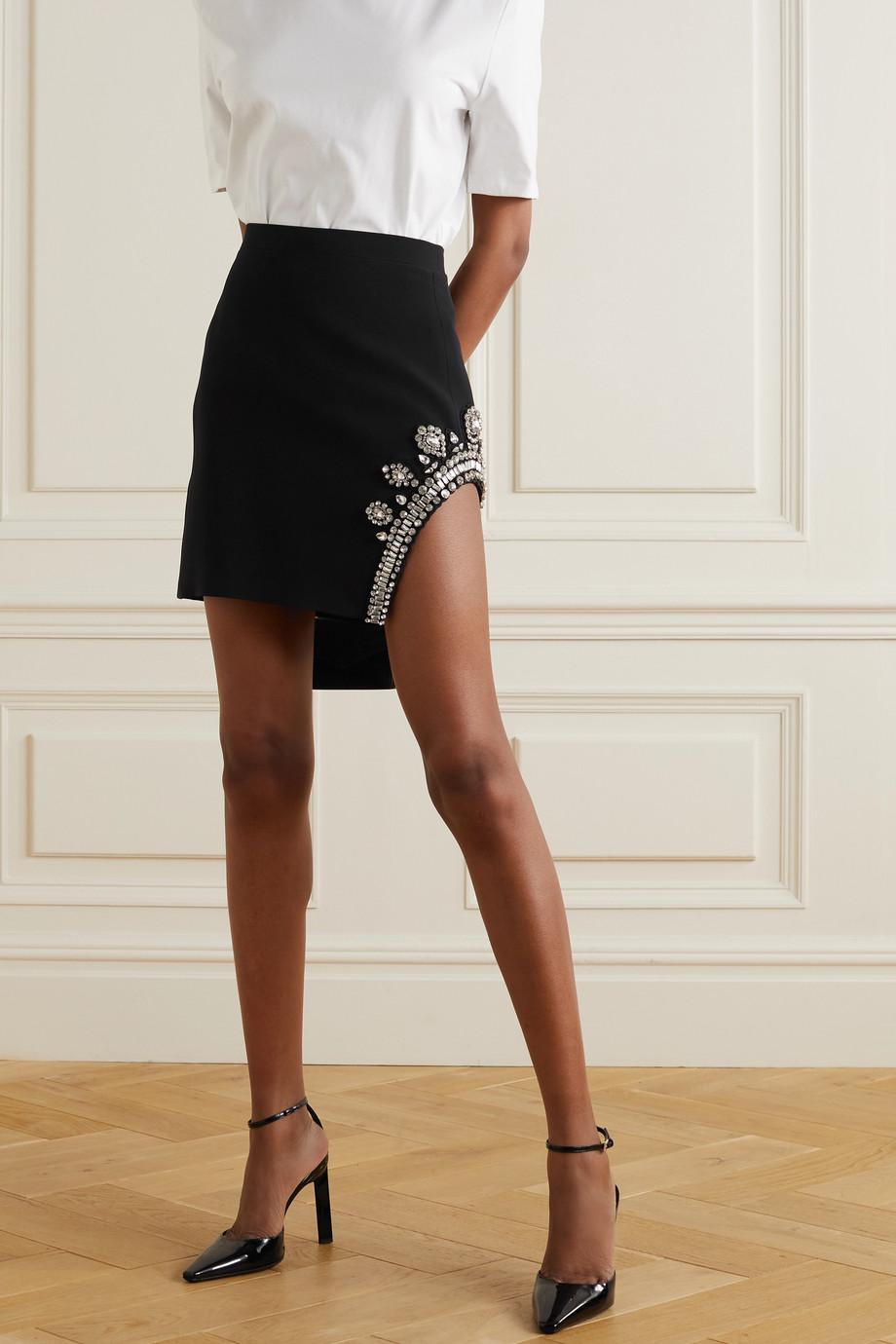 David Koma Crystal-embellished cady mini skirt