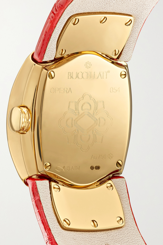 Buccellati Opera 28mm 18-karat gold, alligator and mother-of-pearl watch