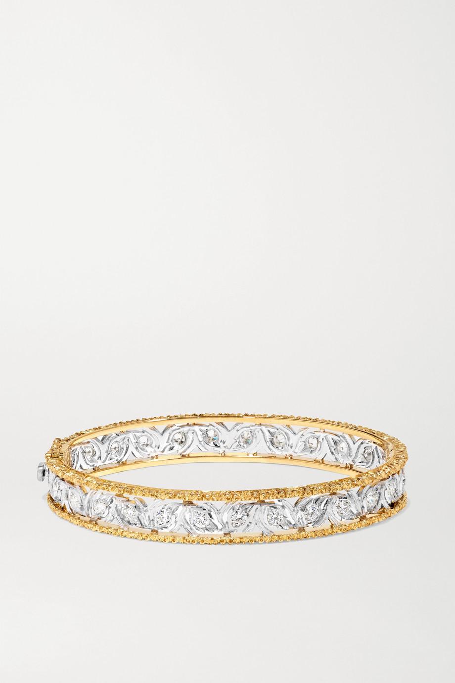 Buccellati Bracelet jonc en or blanc et jaune 18 carats et diamants Ramage