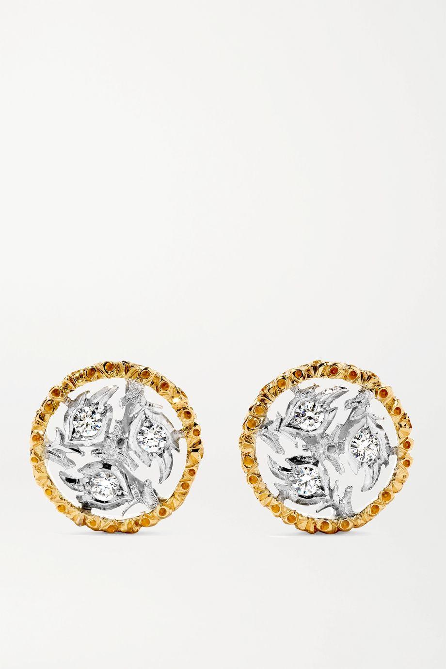 Buccellati Ramage Ohrringe aus 18 Karat Gelb- und Weißgold mit Diamanten