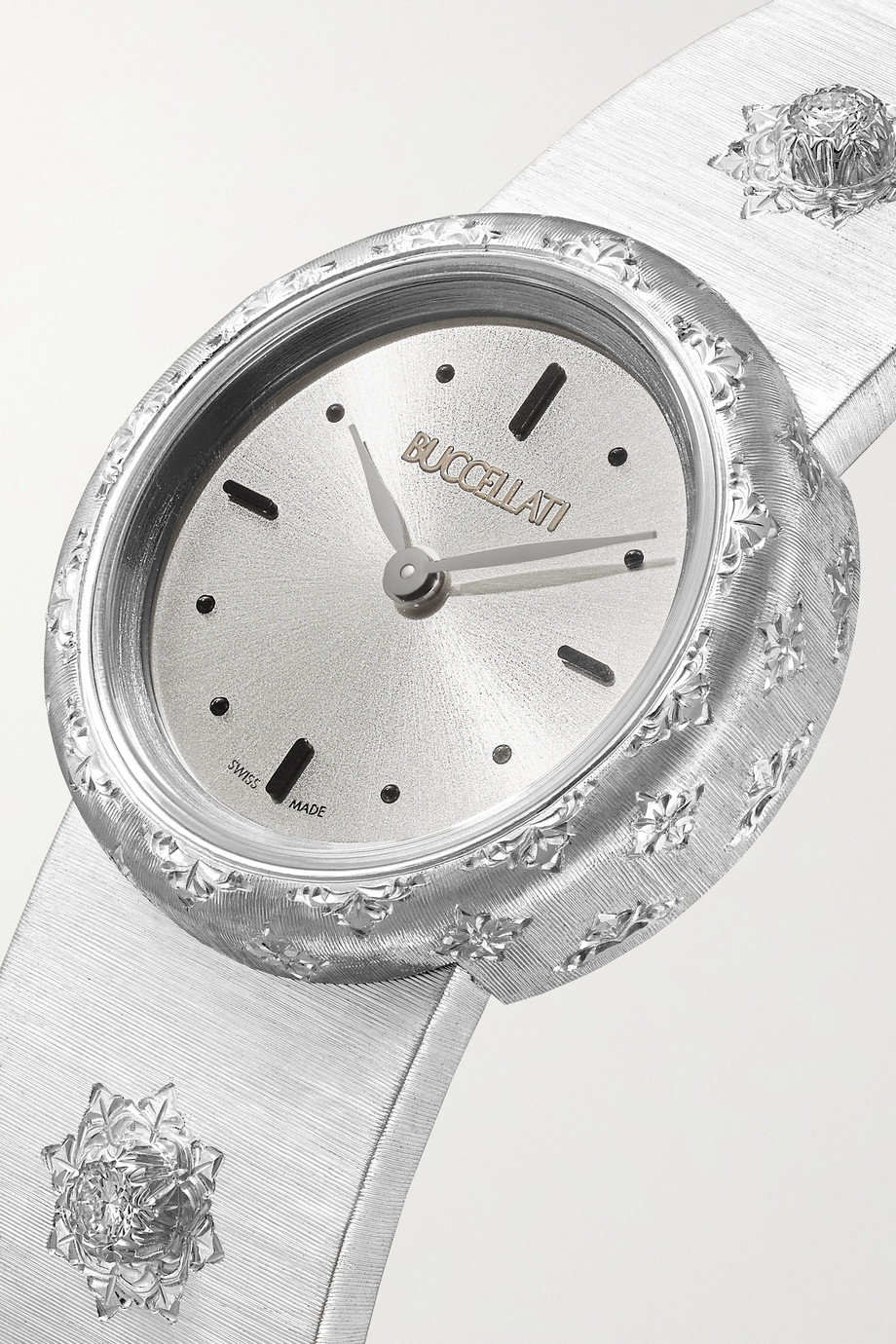 Buccellati Macri 24mm 18-karat white gold and diamond watch