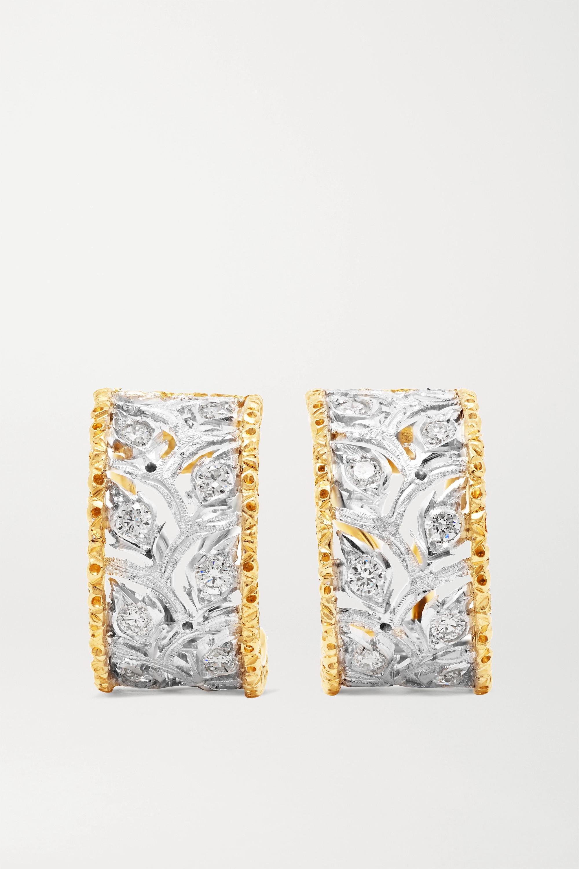 Buccellati - Ramage 18-karat white and yellow gold diamond hoop earrings