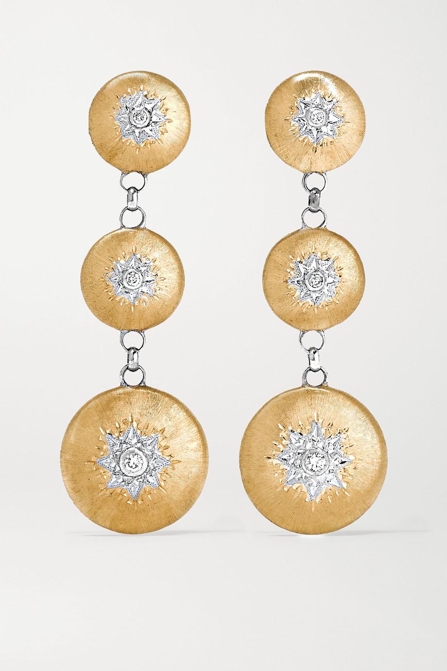 Buccellati Macri 18-karat yellow and white gold diamond earrings