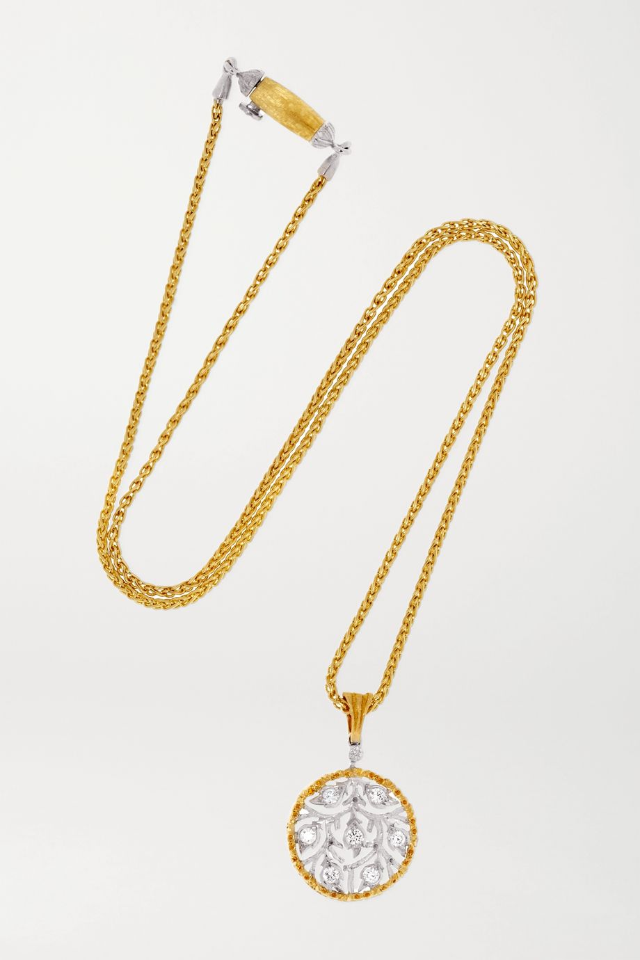 Buccellati Ramage 18-karat yellow and white gold diamond necklace