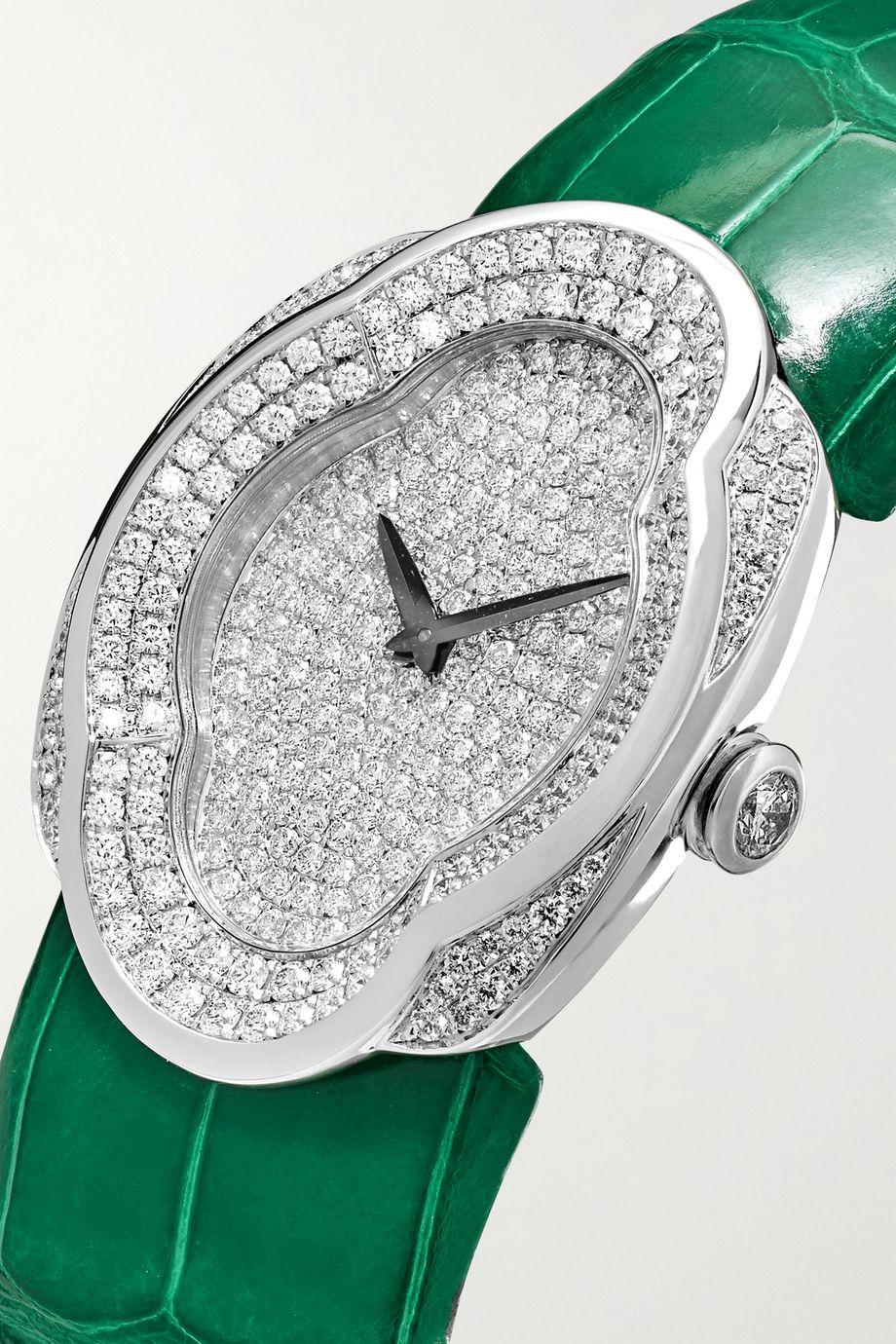 Buccellati Montre en or blanc 18 carats et diamants à bracelet en alligator Opera 28 mm