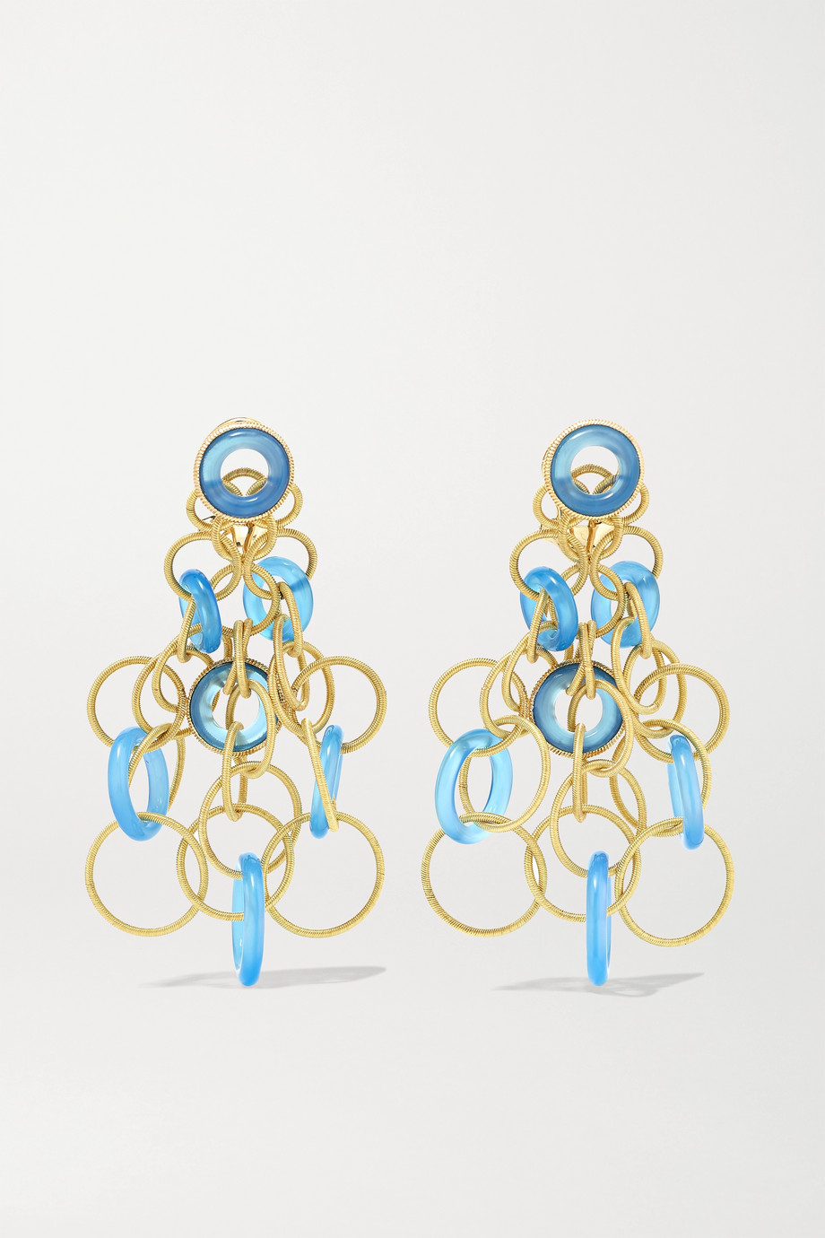 Buccellati Hawaii 18-karat gold chalcedony earrings