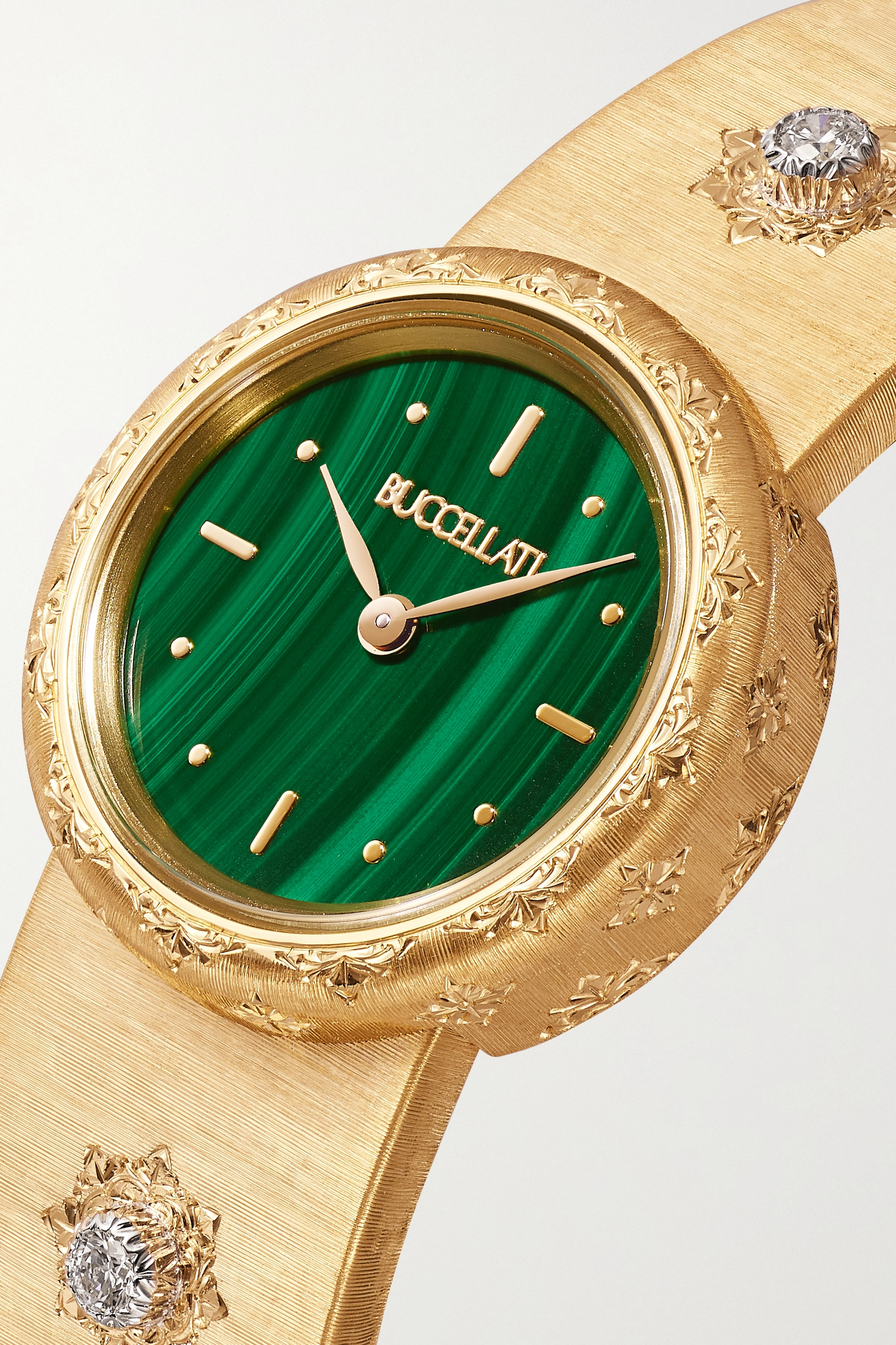Buccellati Macri 24mm 18-karat gold, malachite and diamond watch
