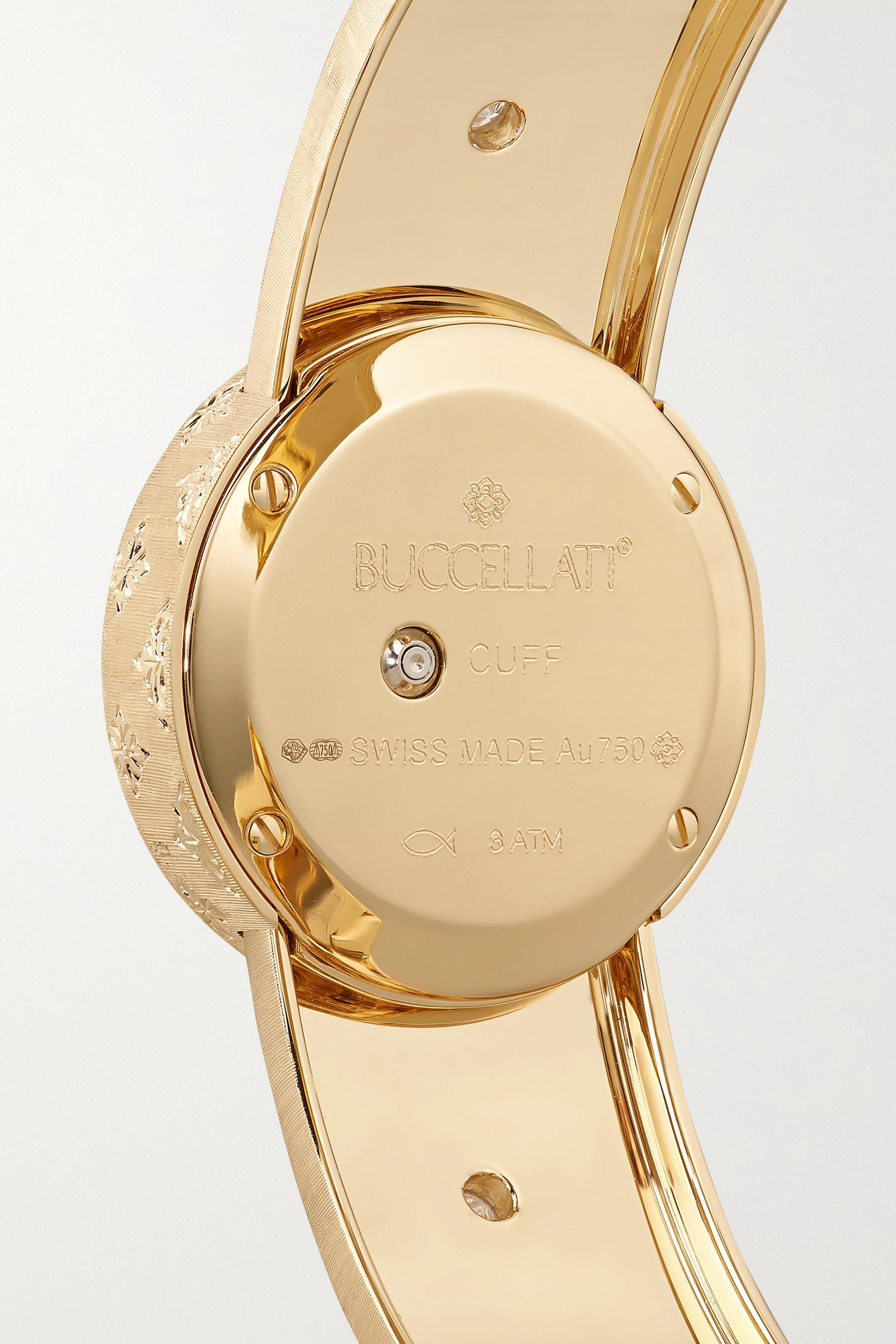 Buccellati Macri 24 毫米 18K 黄金、蛋白石、钻石腕表