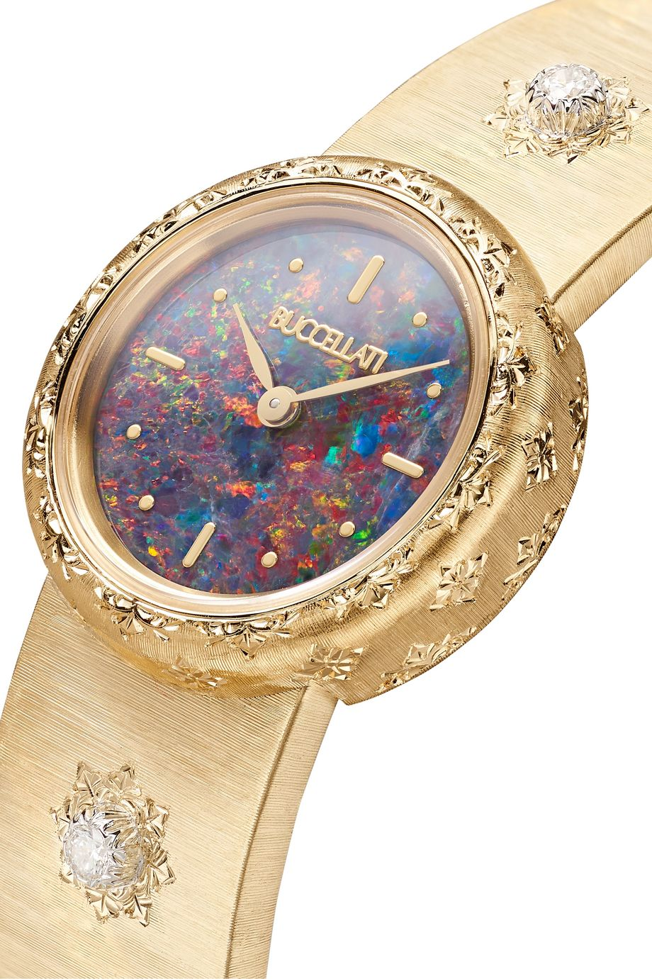 Buccellati Macri 24mm 18-karat gold, opal and diamond watch
