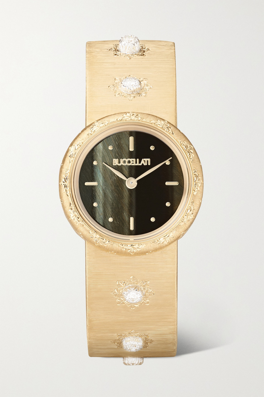 Buccellati Macri 24mm 18-karat gold, hawk's eye and diamond watch