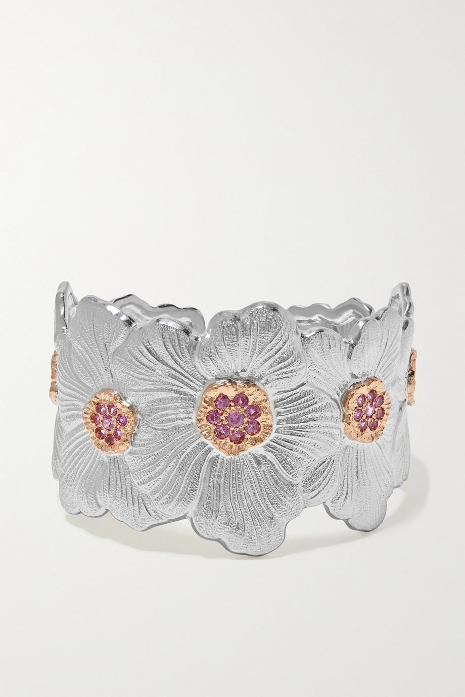 Buccellati Gardenia sterling silver and pink gold vermeil sapphire cuff