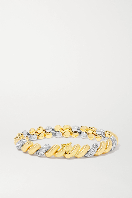 Buccellati 18K 黄金、18K 白金、钻石手链